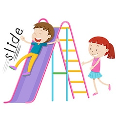 Children playing on the slide vector