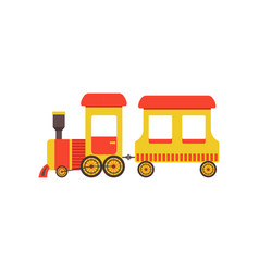childrens cute cartoon toy cargo train yellow vector image