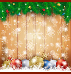 christmas background with wooden table and vector image