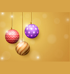 Christmas ball on golden abstract background vector