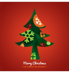 Christmas Tree with lettering on red background vector image