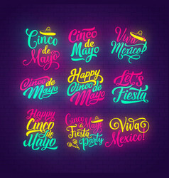 Cinco de mayo neon lettering of mexican holiday vector