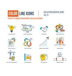 Color line icons collection vector