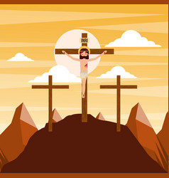 Crucifixion of jesus christ three crosses at vector