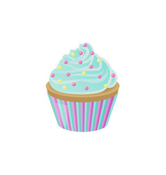 Cupcake with blue cream and bright round sprinkles vector