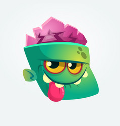 Cute happy zombie head cartoon character vector