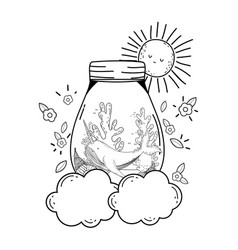 cute narval in mason jar in clouds vector image