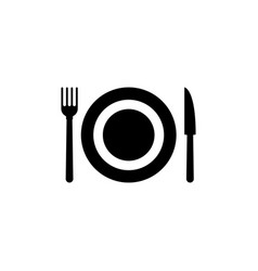 cutlery plate fork and knife flat icon vector image