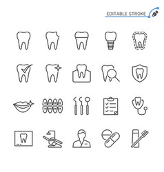 dental line icons editable stroke vector image