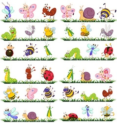 Different kind of insects on grass vector