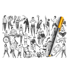 Disabled people hand drawn doodle set vector