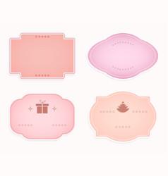 Emblem oval-shaped frame pink hue design vector