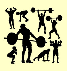 Fitness and gymnastic silhouette vector