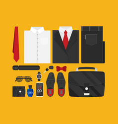 Flat business collection dress and accessories set vector