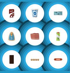 flat icon food set of yogurt packet beverage vector image