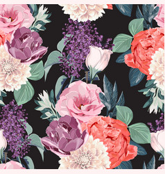 Floral seamless pattern with garden flowers vector