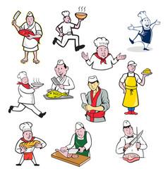 Food worker cartoon set vector