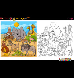 Funny animal characters group coloring book page vector