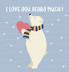 funny valentines day card with polar bear vector image