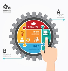 Gears Infographics push Template jigsaw banner vector image