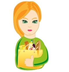 Girl with product vector image