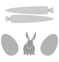 Grey rabbit with eggs and carrot frames isolated vector