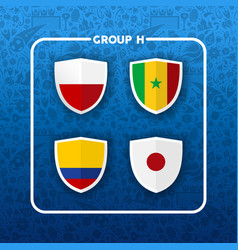 group h russian soccer event country flag list vector image
