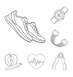 Gym and training outline icons in set collection vector