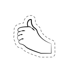 Hand like up finger cutted line vector