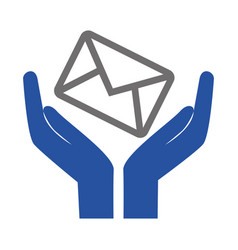 Hands human with envelope vector