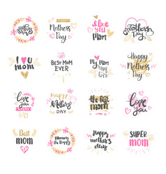 happy mothers day set logo isolated for holiday vector image