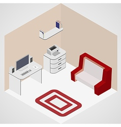 Isometric room with computer vector image
