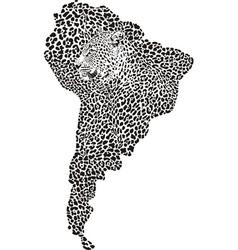 Jaguar on map south america vector