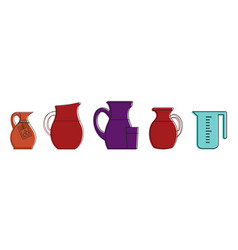 jug icon set color outline style vector image