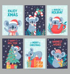 koala christmas happy animals with gift boxes vector image