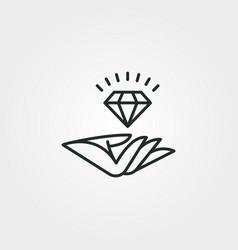 Logo diamond and hand line art symbol design vector