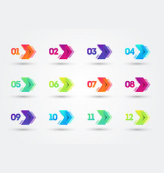 Modern colorful bullet points with number 1 to 12 vector