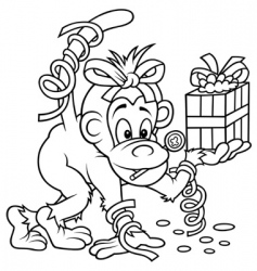 monkey and gift vector image