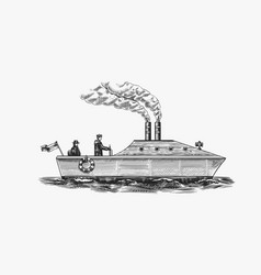 motor ship with sailors seagoing vessel with vector image