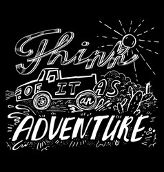 off road hand drawn lettering vector image