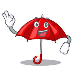 Okay red umbrellas isolated in a mascot vector