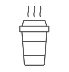 paper cup thin line icon beverage and cafe vector image