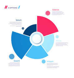 pie chart concept with 5 parts template vector image