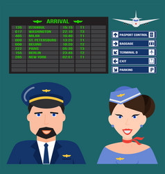 pilot and stewardess in uniform airport character vector image