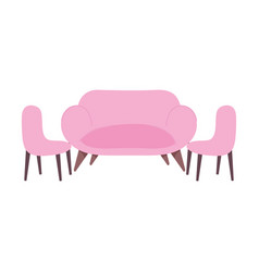 pink sofa and chair living room furniture vector image
