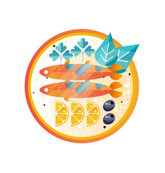 Plate with seafood dish sea fish with slices of vector