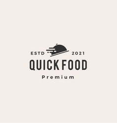 Quick food fast delivery hipster vintage logo icon vector