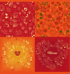 Red and orange floral patterns set vector