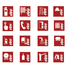 Red fire emergency sign collection vector