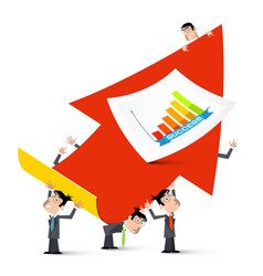 red up arrow with businessmen and cuccess graph vector image